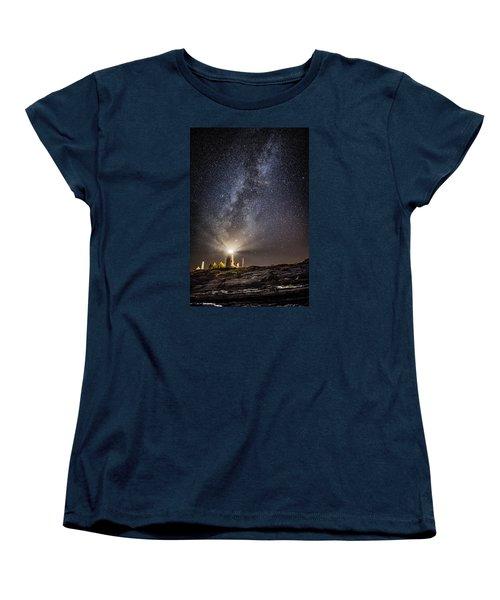 Women's T-Shirt (Standard Cut) featuring the photograph Pemaquid Point Milky Way by Robert Clifford