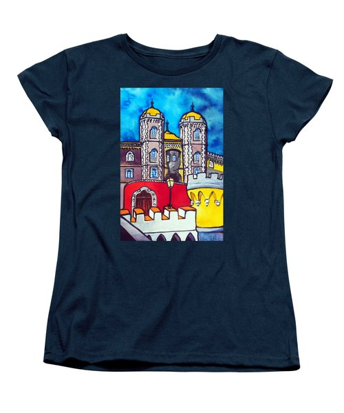 Women's T-Shirt (Standard Cut) featuring the painting Pena Palace In Sintra Portugal  by Dora Hathazi Mendes