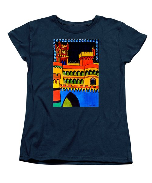 Women's T-Shirt (Standard Cut) featuring the painting Pena Palace Portugal by Dora Hathazi Mendes