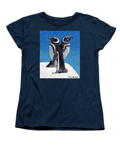 Penguins In The Snow Women's T-Shirt (Standard Cut) by Patricia Barmatz