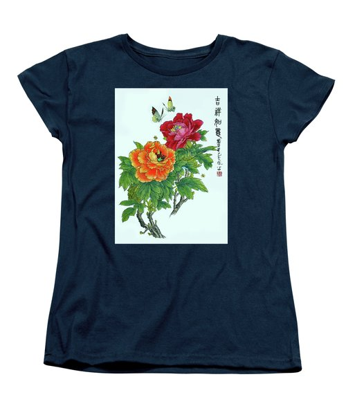 Peonies And Butterflies Women's T-Shirt (Standard Cut) by Yufeng Wang