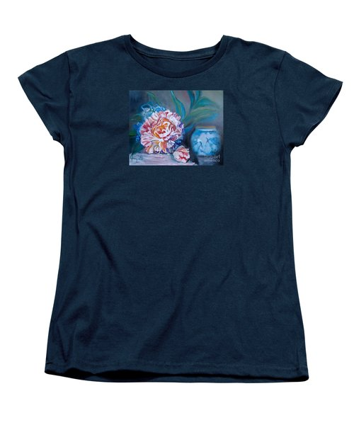Women's T-Shirt (Standard Cut) featuring the painting Peony And Chinese Vase by Jenny Lee