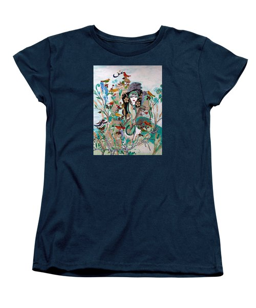 Women's T-Shirt (Standard Cut) featuring the painting Persian Painting # 2 by Sima Amid Wewetzer