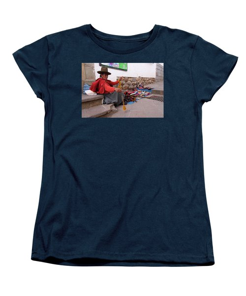 Women's T-Shirt (Standard Cut) featuring the photograph Peruvian Weaver by Aidan Moran