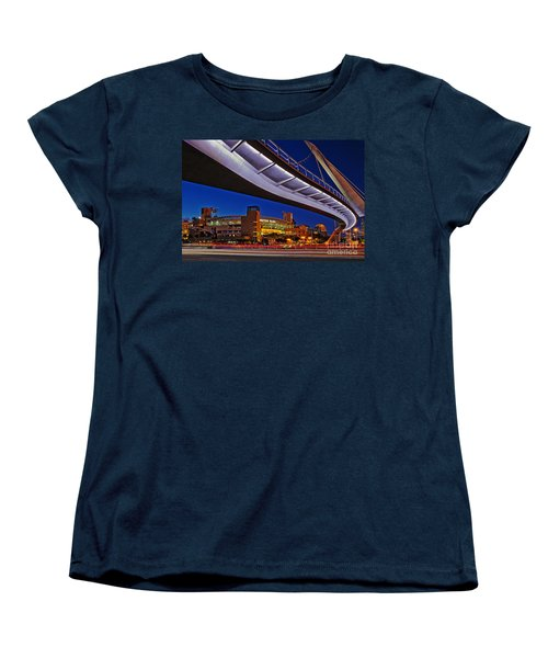 Petco Park And The Harbor Drive Pedestrian Bridge In Downtown San Diego  Women's T-Shirt (Standard Cut) by Sam Antonio Photography