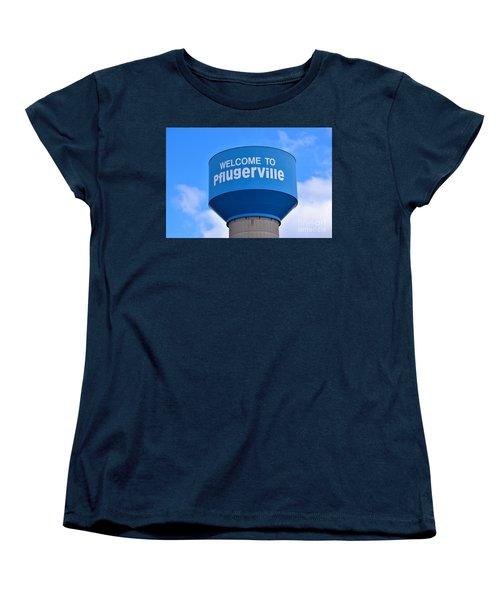 Pflugerville Texas - Water Tower Women's T-Shirt (Standard Cut) by Ray Shrewsberry