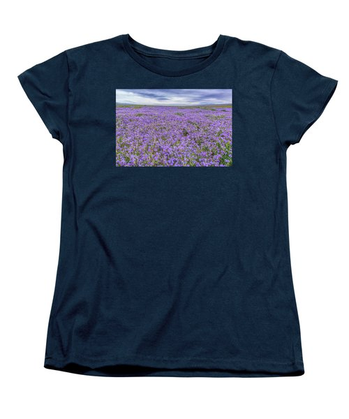 Women's T-Shirt (Standard Cut) featuring the photograph Phacelia Field And Clouds by Marc Crumpler