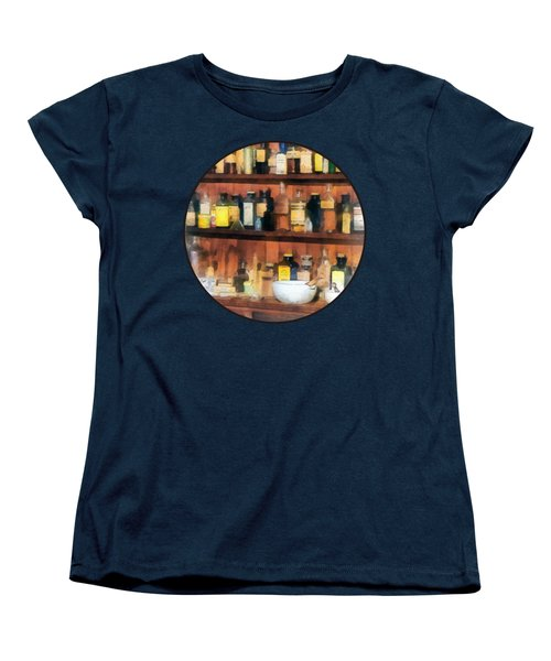 Women's T-Shirt (Standard Cut) featuring the photograph Pharmacist - Mortar Pestles And Medicine Bottles by Susan Savad