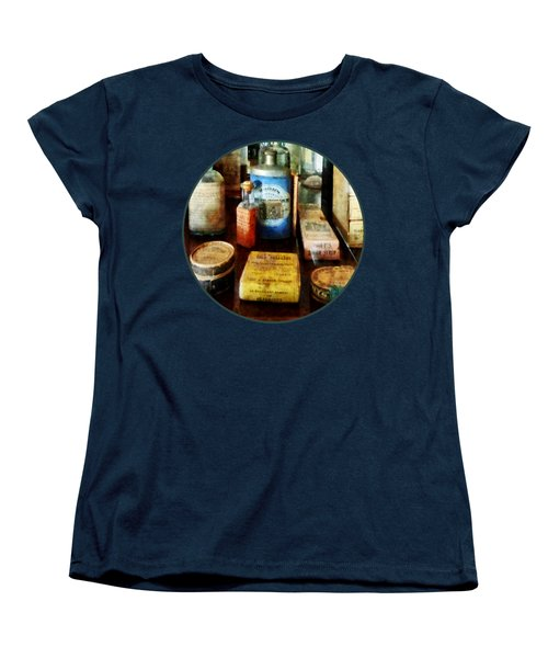 Women's T-Shirt (Standard Cut) featuring the photograph Pharmacy - Cough Remedies And Tooth Powder by Susan Savad