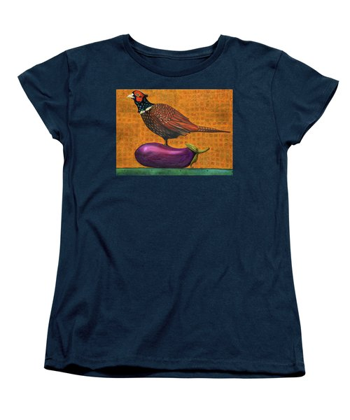 Pheasant On An Eggplant Women's T-Shirt (Standard Cut) by Leah Saulnier The Painting Maniac