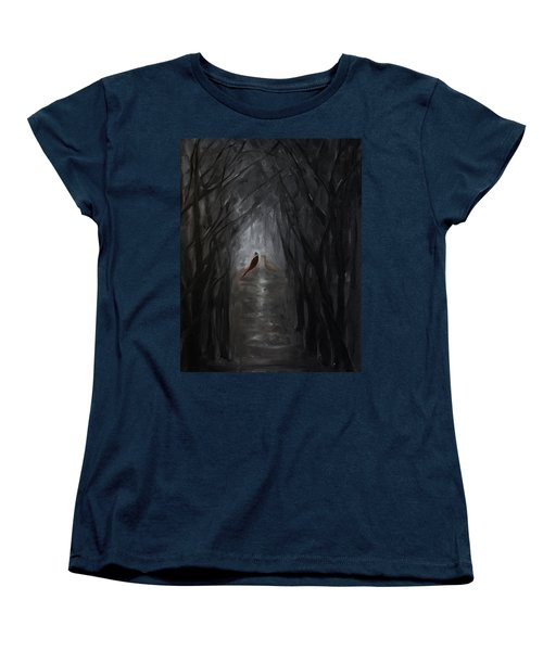 Women's T-Shirt (Standard Cut) featuring the painting Pheasants In The Garden by Tone Aanderaa