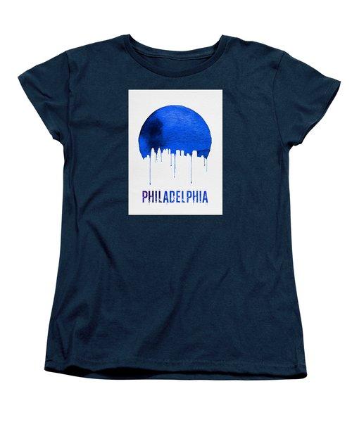 Philadelphia Skyline Blue Women's T-Shirt (Standard Cut) by Naxart Studio