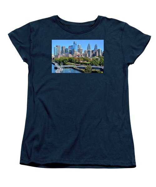 Women's T-Shirt (Standard Cut) featuring the photograph Philly With Walking Trail by Frozen in Time Fine Art Photography