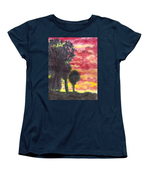Women's T-Shirt (Standard Cut) featuring the painting Phoenix Sunset by Eric Samuelson