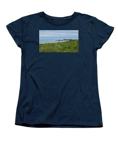 Pigeon Point Lighthouse Women's T-Shirt (Standard Cut) by Mark Barclay