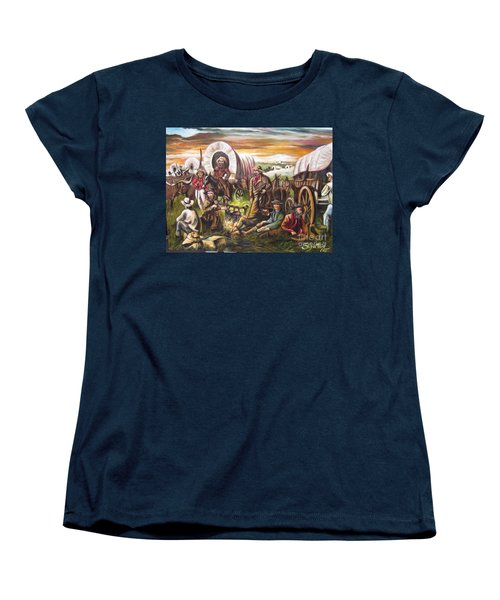 Women's T-Shirt (Standard Cut) featuring the painting Pilgrims On The Plain by Sigrid Tune