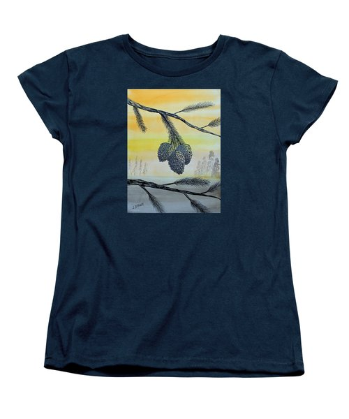 Women's T-Shirt (Standard Cut) featuring the painting Pine Cones by Jack G  Brauer