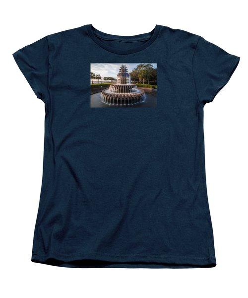 Pineapple Fountain Charleston Sunrise Women's T-Shirt (Standard Cut) by John McGraw