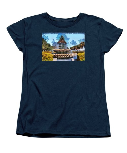 Women's T-Shirt (Standard Cut) featuring the painting Pineapple Fountain by Lynne Jenkins