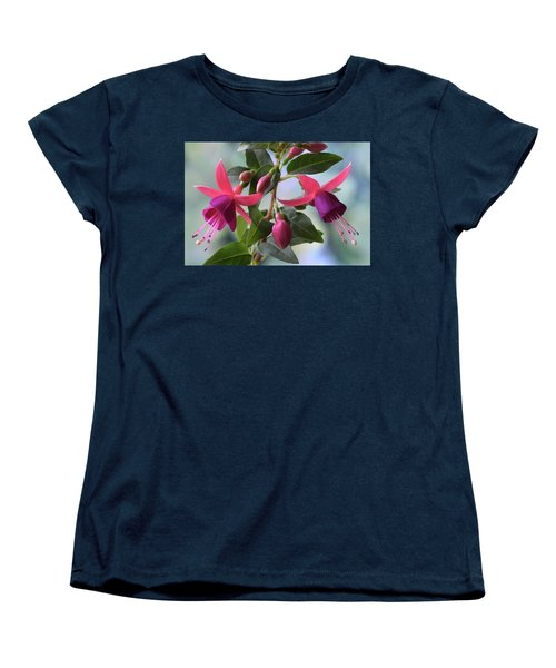 Women's T-Shirt (Standard Cut) featuring the photograph Pink And Purple Fuchsia by Terence Davis