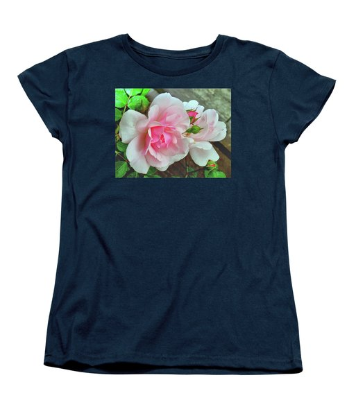 Women's T-Shirt (Standard Cut) featuring the photograph Pink Cluster Of Roses by Janette Boyd