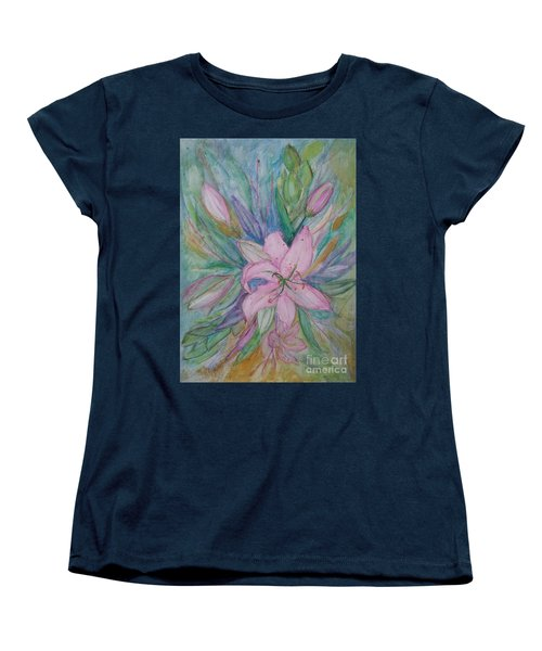 Pink Lily- Painting Women's T-Shirt (Standard Cut) by Veronica Rickard