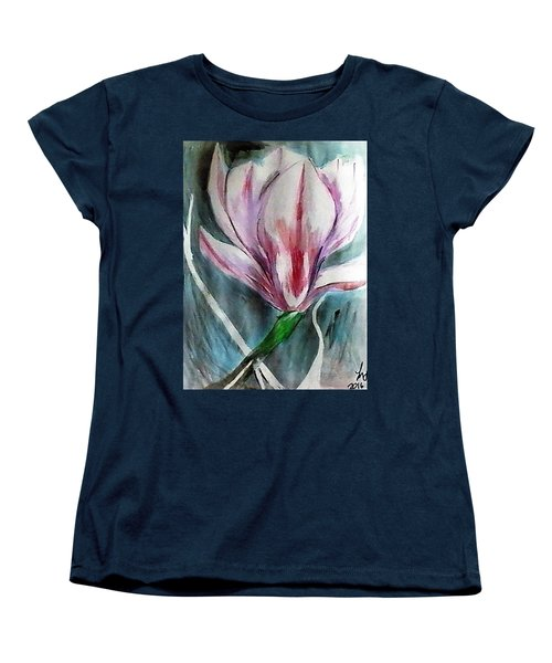 Pink Magnolia Women's T-Shirt (Standard Cut) by Loretta Nash