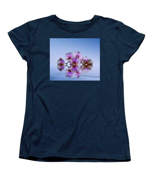 Pink Orchids Blue Background Women's T-Shirt (Standard Cut)