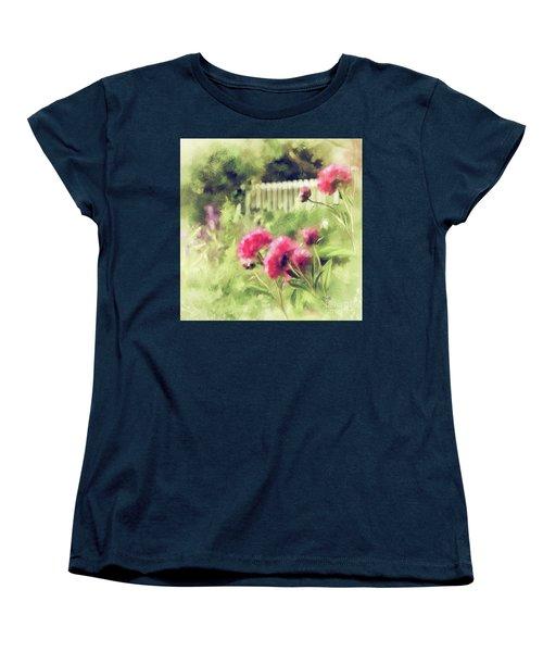 Pink Peonies In A Vintage Garden Women's T-Shirt (Standard Cut) by Lois Bryan