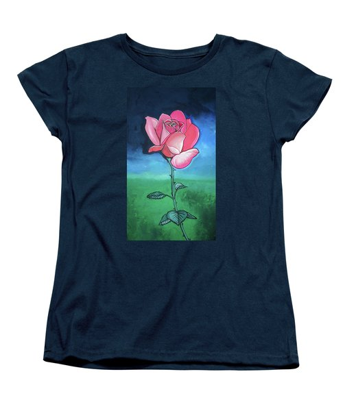 Pink Rose Women's T-Shirt (Standard Cut) by Mary Ellen Frazee