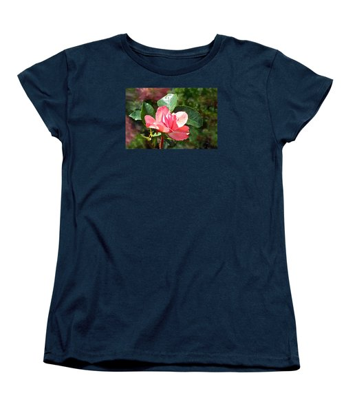 Pink Roses In The Rain 2 Women's T-Shirt (Standard Cut) by Janis Nussbaum Senungetuk