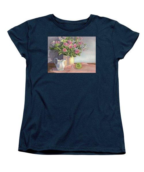 Pink Roses Women's T-Shirt (Standard Cut) by Vikki Bouffard
