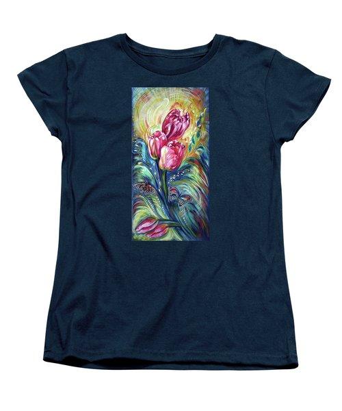 Pink Tulips And Butterflies Women's T-Shirt (Standard Cut)