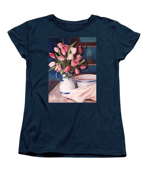 Women's T-Shirt (Standard Cut) featuring the painting Pink Tulips by Renate Nadi Wesley