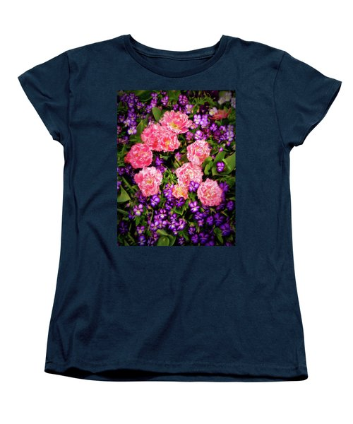Pink Tulips With Purple Flowers Women's T-Shirt (Standard Cut) by James Steele