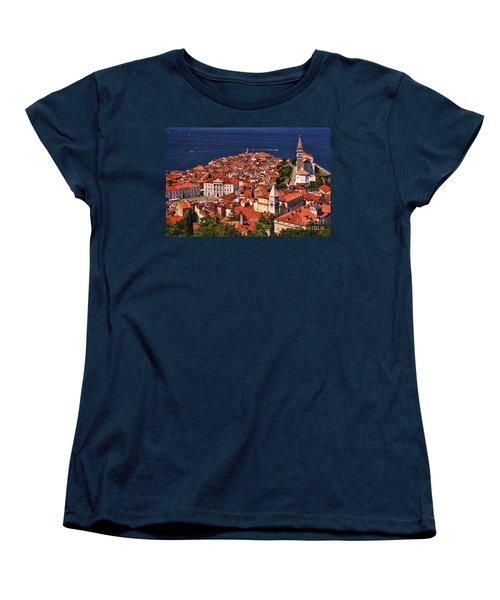 Piran From The Castle Wall Women's T-Shirt (Standard Cut) by Graham Hawcroft pixsellpix