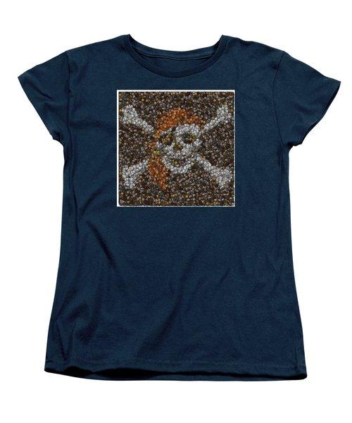 Women's T-Shirt (Standard Cut) featuring the digital art Pirate Coins Mosaic by Paul Van Scott