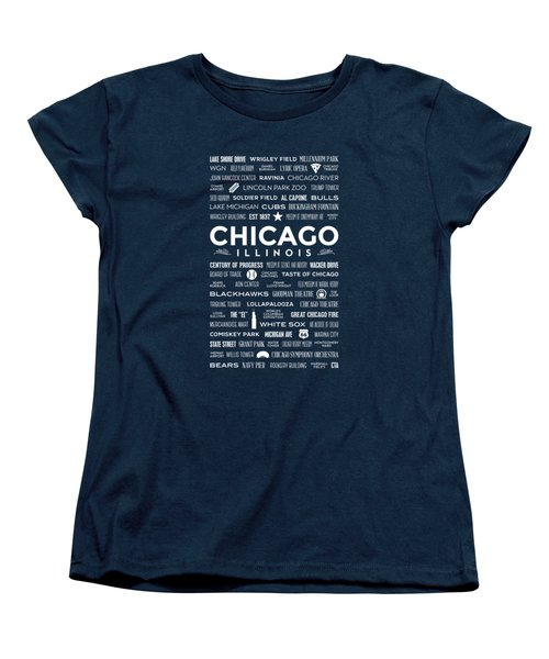 Places Of Chicago On Blue Chalkboard Women's T-Shirt (Standard Cut) by Christopher Arndt