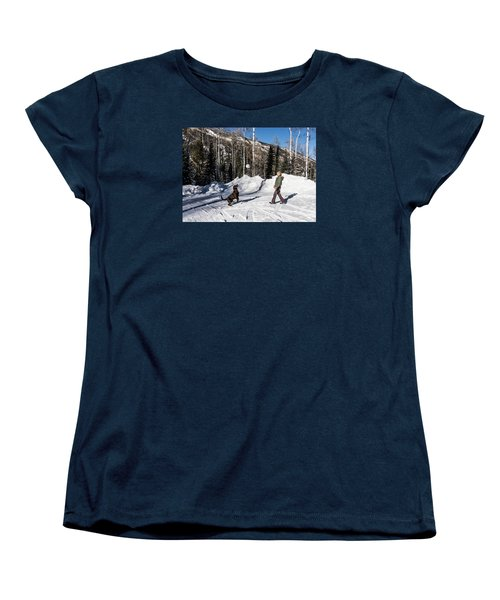 Playing Ball With A Beautiful Chocolate Lab Women's T-Shirt (Standard Cut) by Carol M Highsmith