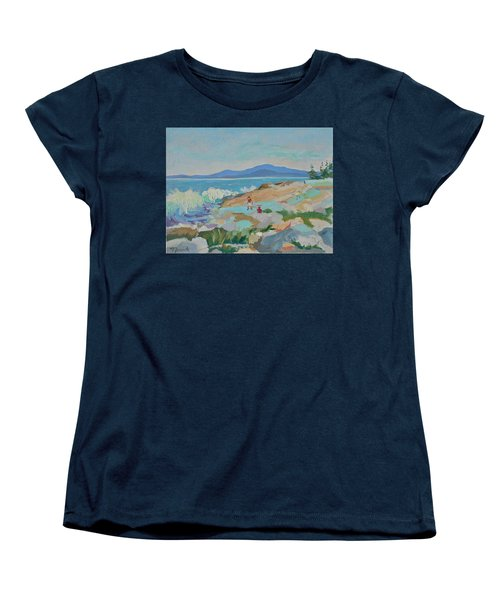 Women's T-Shirt (Standard Cut) featuring the painting Playing On Schoodic Rocks by Francine Frank