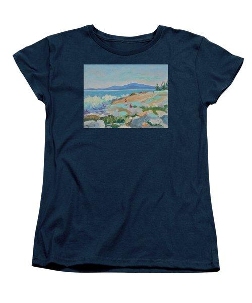 Playing On Schoodic Rocks Women's T-Shirt (Standard Cut)