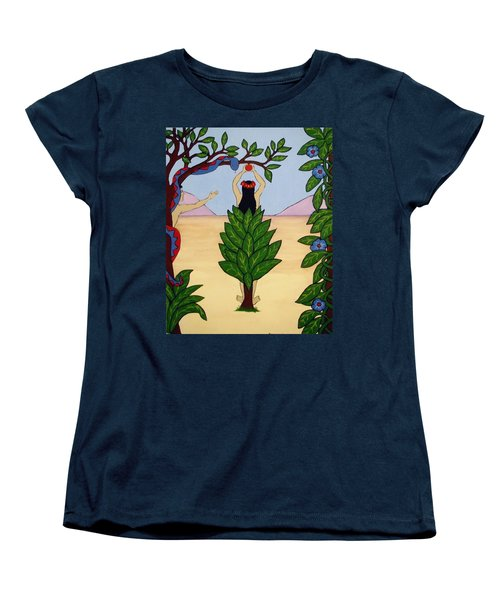 Women's T-Shirt (Standard Cut) featuring the painting Please Don't Pick That Apple by Stephanie Moore