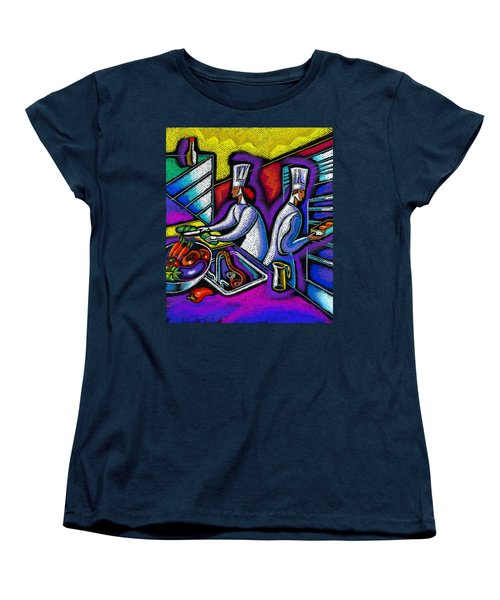 Women's T-Shirt (Standard Cut) featuring the painting  Pleasure Of The Food Preparation by Leon Zernitsky