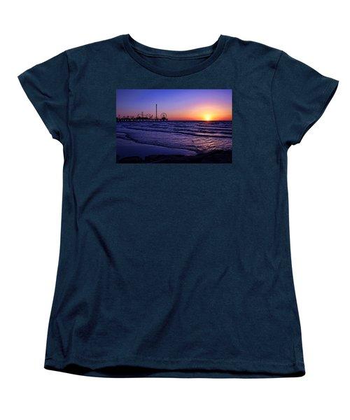 Pleasure Pier Sunrise Women's T-Shirt (Standard Cut) by Judy Vincent