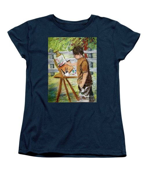 Plein-air Painter Boy Women's T-Shirt (Standard Cut) by Gretchen Allen