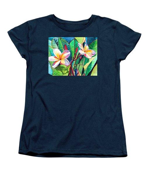 Plumeria Garden Women's T-Shirt (Standard Cut) by Marionette Taboniar