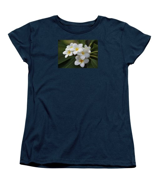 Women's T-Shirt (Standard Cut) featuring the photograph Plumeria - Golden Hearts by Kerri Ligatich
