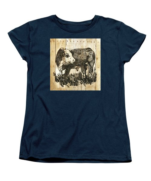 Polled Hereford Bull 11 Women's T-Shirt (Standard Cut) by Larry Campbell