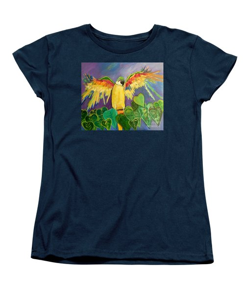 Women's T-Shirt (Standard Cut) featuring the painting Polly Wants More Than A Cracker by Rosemary Aubut