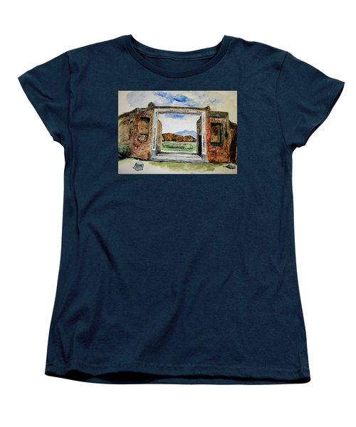 Pompeii Doorway Women's T-Shirt (Standard Cut) by Clyde J Kell